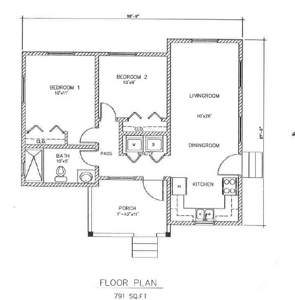(LA Development ) The Black Pineapple 2 Bed 1 Bath Floor Plan 791 sq ft $165K~