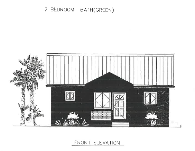 (LA Development ) The Black Pineapple 2 Bed 1 Bath Front Elevation Plan 791 sq ft $165K~