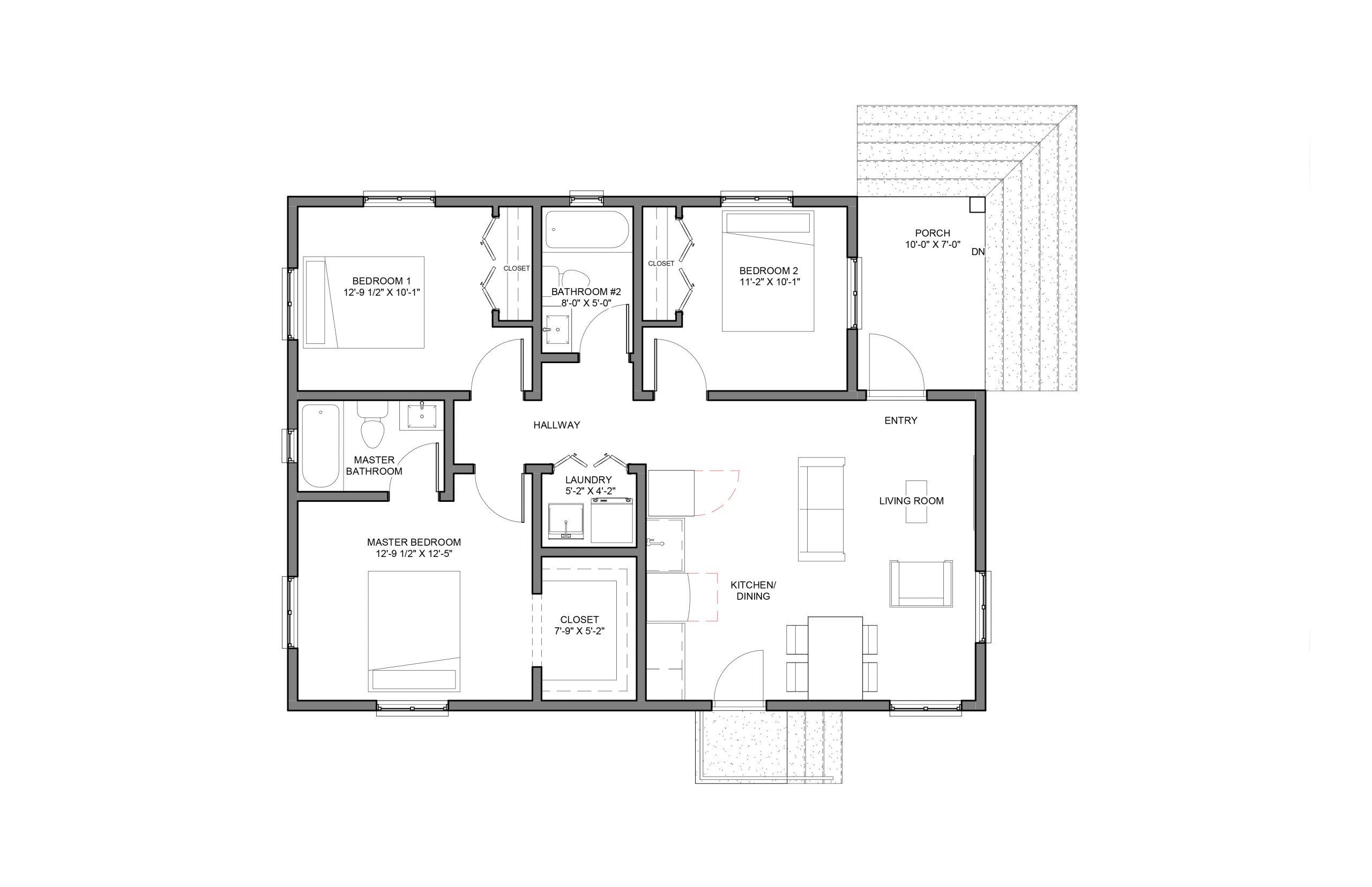Lantern 3Bed 2Bath Option 2 Floor Plan  1060+SQFT