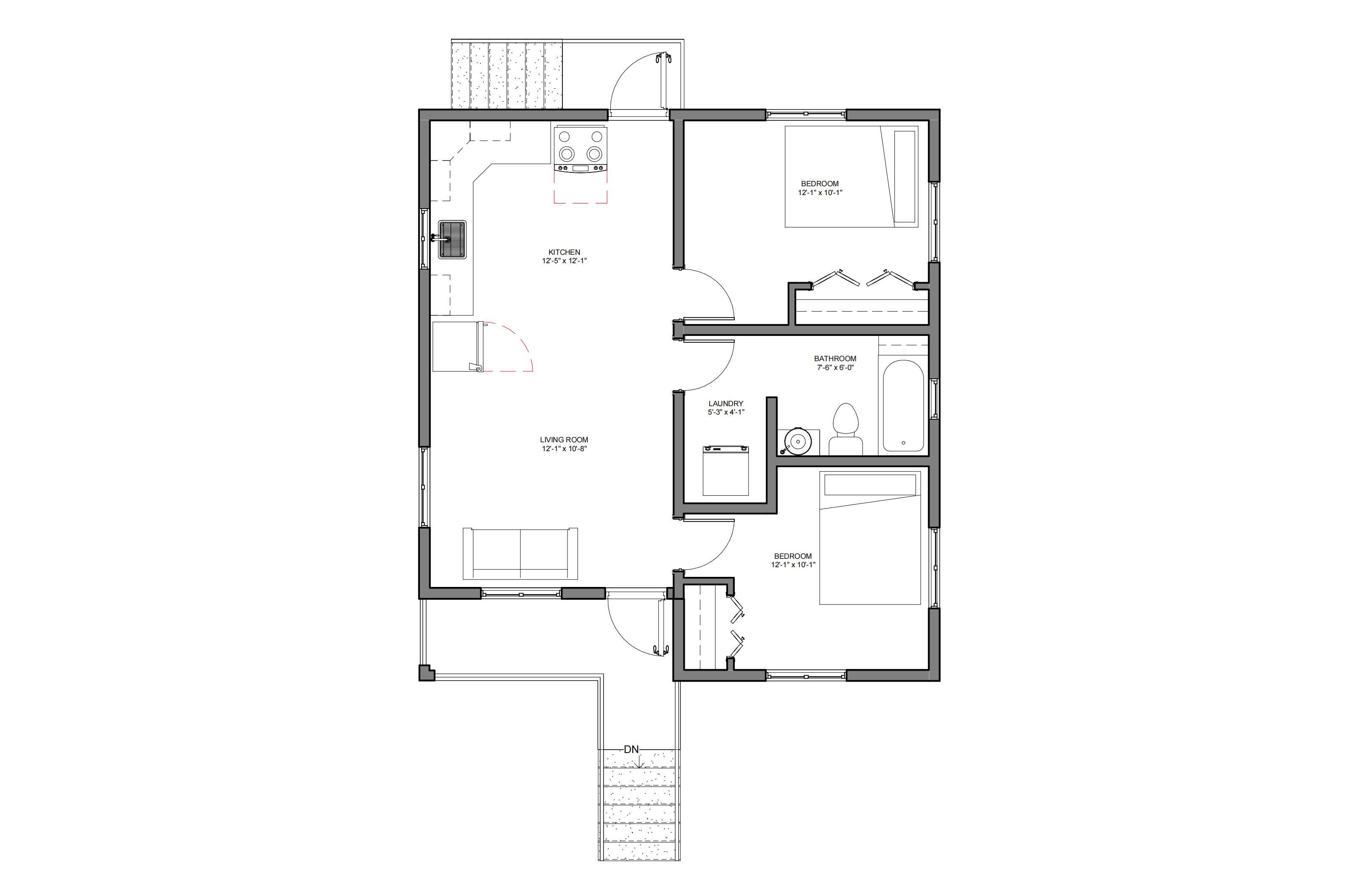 Radar 2Bed 1Bath Floor Plan 700 SQFT